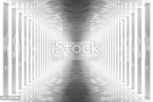 962326404istockphoto 3D rendering abstract room interior with neon lights. Futuristic architecture background. Mock-up for your design project 962326294