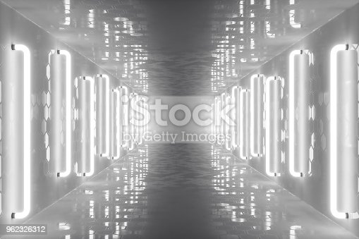 962326404istockphoto 3D rendering abstract room interior with neon lights. Futuristic architecture background. Mock-up for your design project 962326312