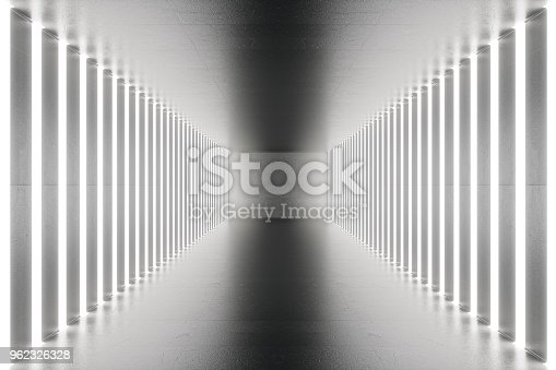 962326404istockphoto 3D rendering abstract room interior with neon lights. Futuristic architecture background. Mock-up for your design project 962326328