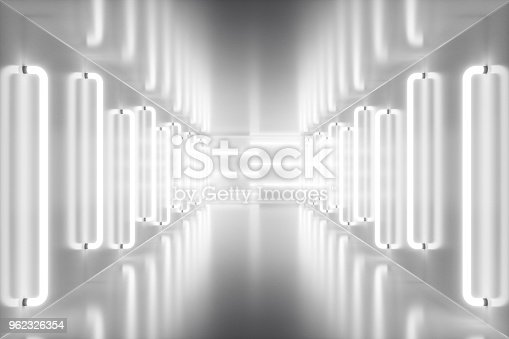 962326404istockphoto 3D rendering abstract room interior with neon lights. Futuristic architecture background. Mock-up for your design project 962326354