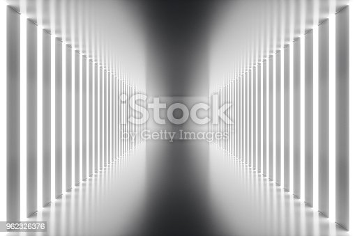 962326404istockphoto 3D rendering abstract room interior with neon lights. Futuristic architecture background. Mock-up for your design project 962326376