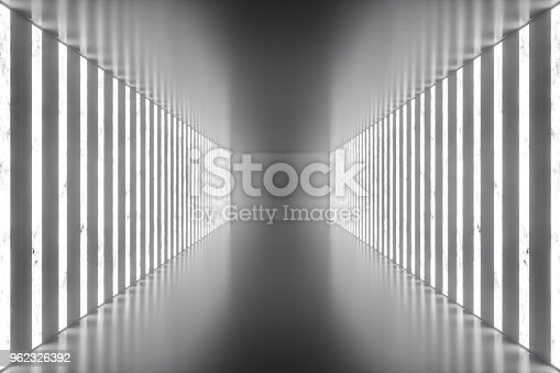 962326404istockphoto 3D rendering abstract room interior with neon lights. Futuristic architecture background. Mock-up for your design project 962326392