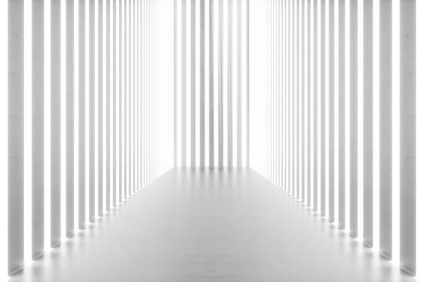 3d-rendering abstrakten innenraum mit neonröhren. futuristische architektur hintergrund. mock-up für ihre design-projekt - partyraum stock-fotos und bilder