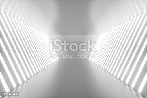962326404istockphoto 3D rendering abstract room interior with neon lights. Futuristic architecture background. Mock-up for your design project 962326400