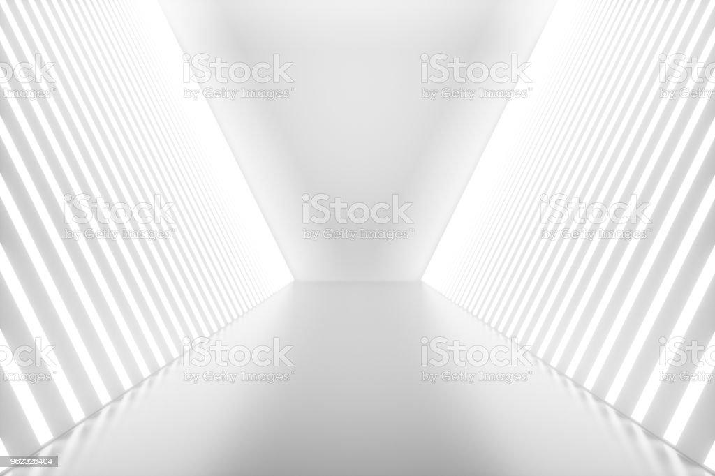 3D-Rendering abstrakten Innenraum mit Neonröhren. Futuristische Architektur Hintergrund. Mock-up für Ihre Design-Projekt - Lizenzfrei Abstrakt Stock-Foto