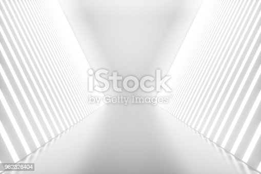 istock 3D rendering abstract room interior with neon lights. Futuristic architecture background. Mock-up for your design project 962326404