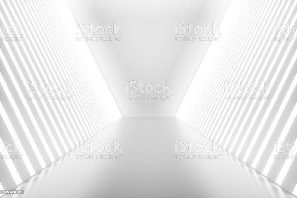 3D rendering abstract room interior with neon lights. Futuristic architecture background. Mock-up for your design project stock photo
