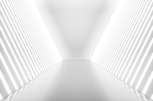 3drendering Abstrakten Innenraum Mit Neonröhren Futuristische Architektur Hintergrund Mockup Für Ihre Designprojekt Stockfoto und mehr Bilder von Abstrakt