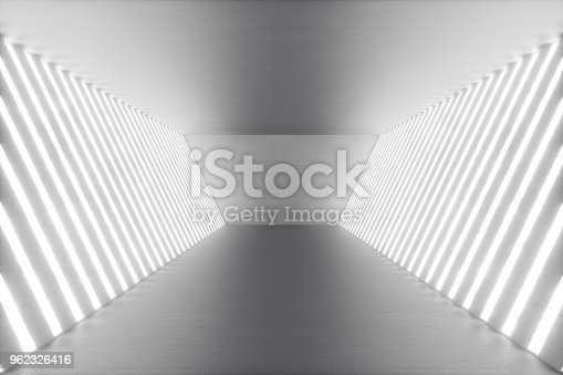 962326404istockphoto 3D rendering abstract room interior with neon lights. Futuristic architecture background. Mock-up for your design project 962326416