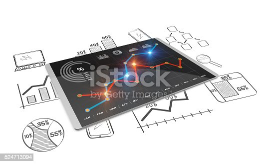 istock 3D Rendering analysis of financial data in charts 524713094