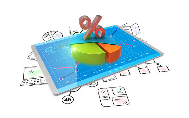 3D Rendering analysis of financial data in charts stock photo
