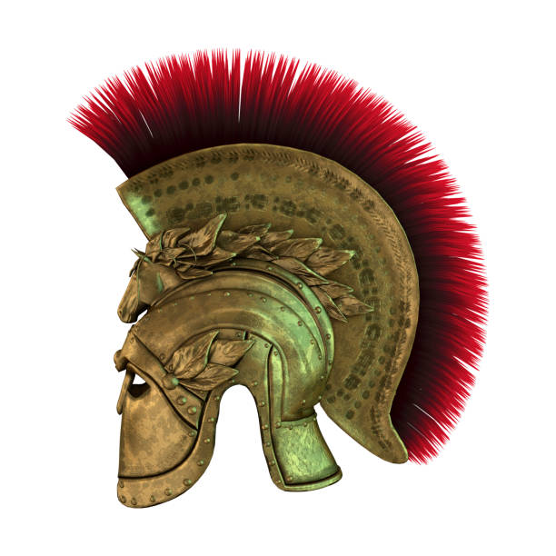 3d rendering ancient greek helmet on white - roman stock photos and pictures
