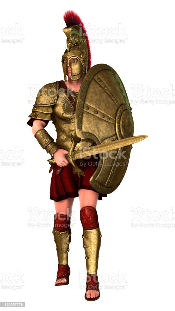 3D rendering ancient Greek soldier on white stock photo