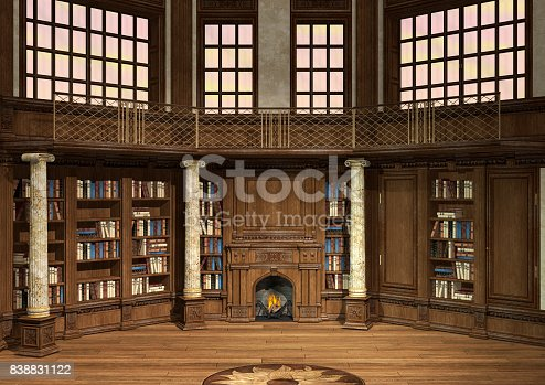 istock 3D Rendering Antique Library 838831122