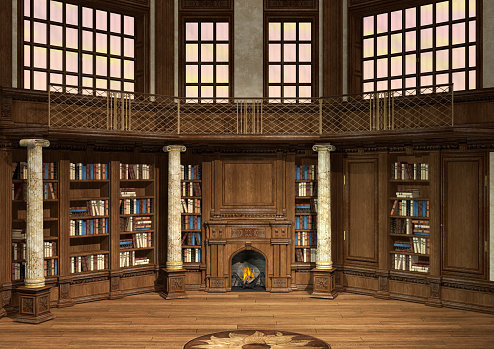 3D Rendering Antique Library