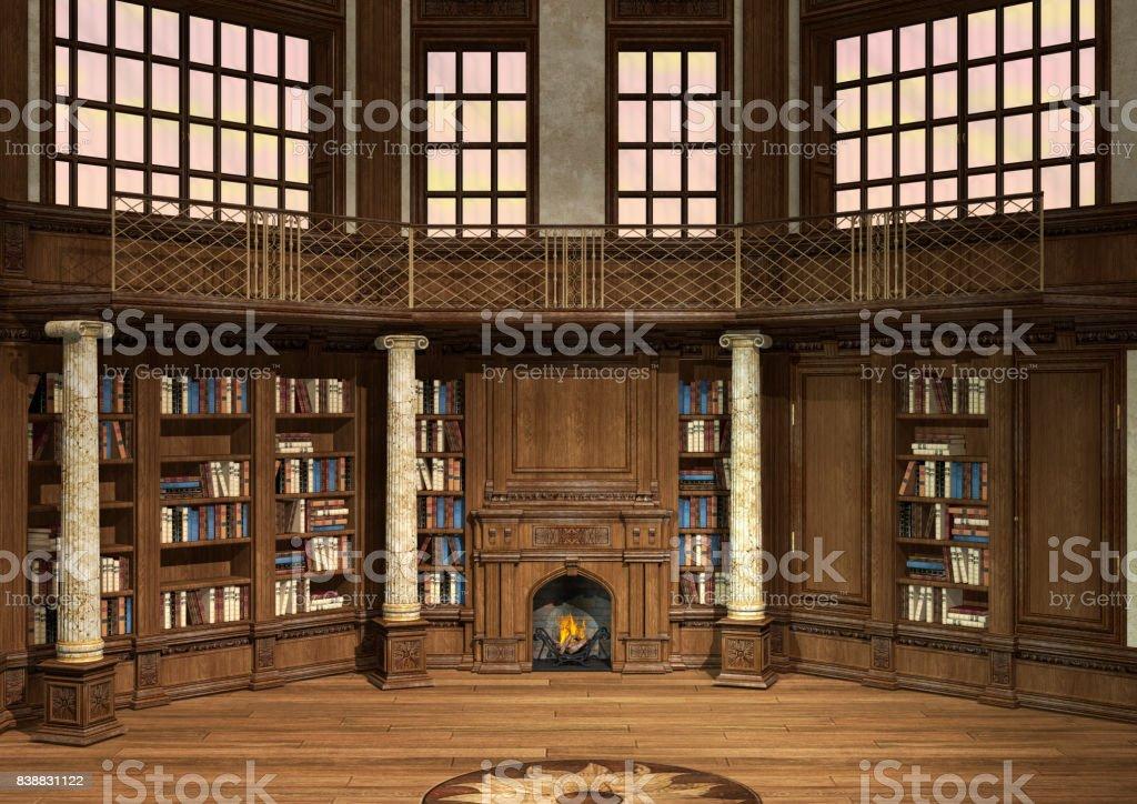 Antigua biblioteca de renderizado 3D - foto de stock