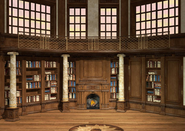 3D Rendering Antique Library stock photo