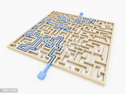 108688372 istock photo 3D rendering Arrow going through the maze. Right solution concept. 688034598