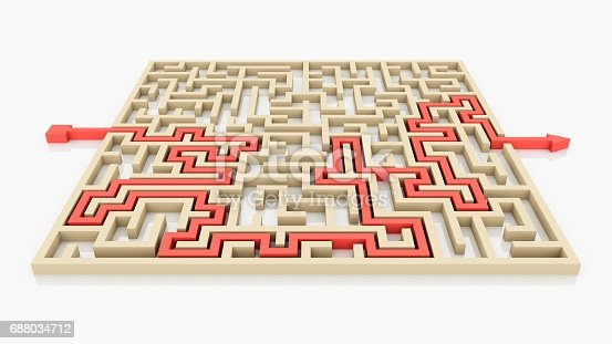 108688372 istock photo 3D rendering Arrow going through the maze. Right solution concept. 688034712