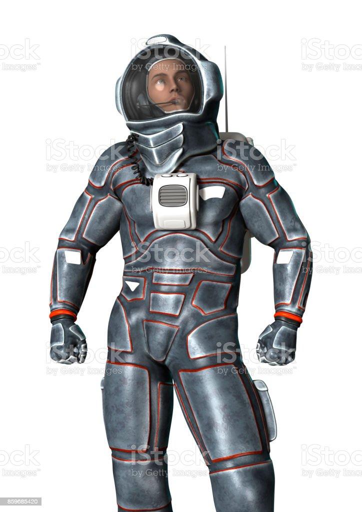 3D rendering astronaut on white stock photo