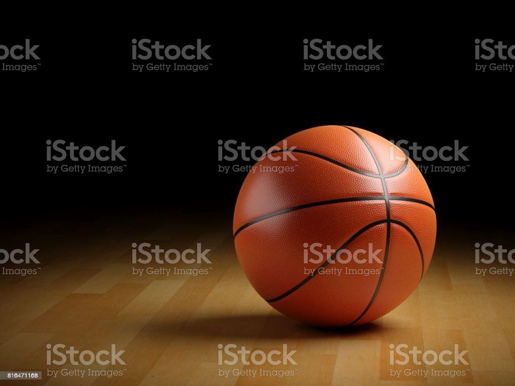 Bola de baloncesto 3D rendering en piso de madera - foto de stock