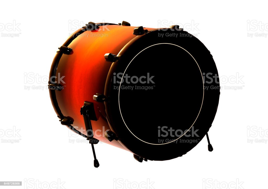 3D rendering bass drum on white stock photo
