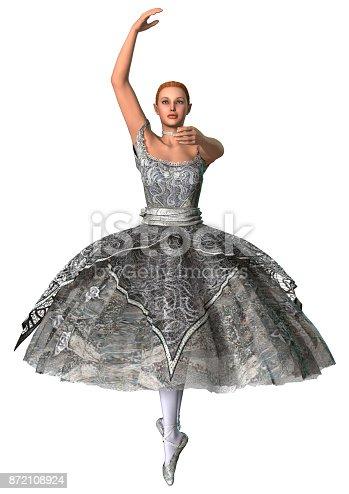 istock 3D rendering beautiful ballerina on white 872108924