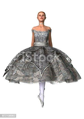 istock 3D rendering beautiful ballerina on white 872108952
