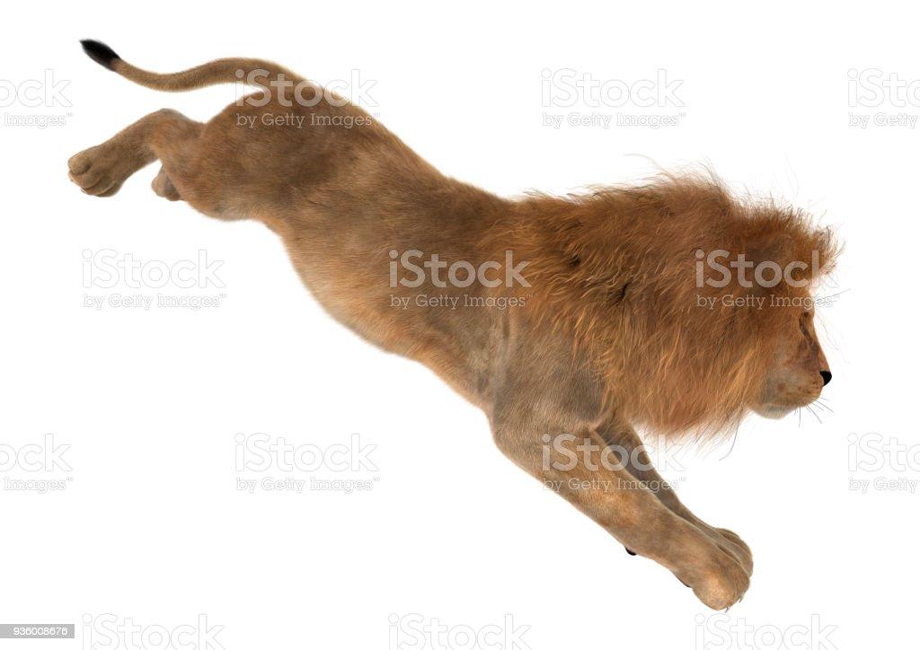 Büyük oluşturma 3D erkek aslan beyaz kedi stok fotoğrafı