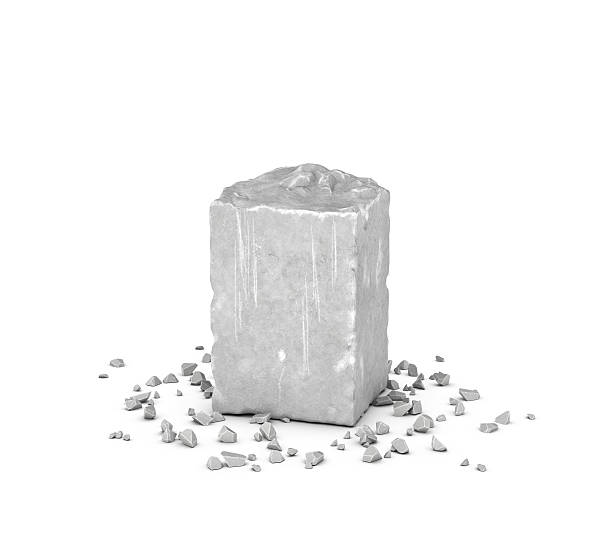 Rendering big rectangular block of gray rock and its chips Rendering big rectangular block of gray rock and its chips isolated on white background. Mineral extraction. Traditional mining and equipment. Stone carving. mattock stock pictures, royalty-free photos & images