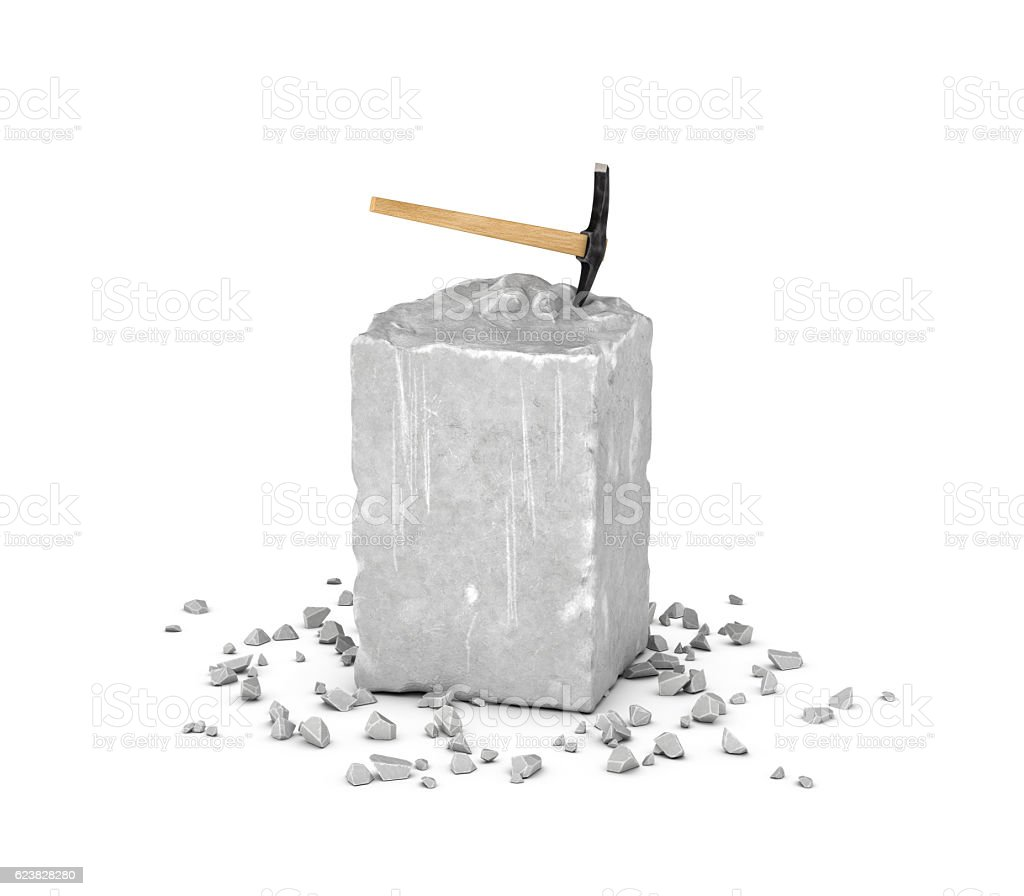 Rendering big rectangular block of gray rock, its chips and stock photo
