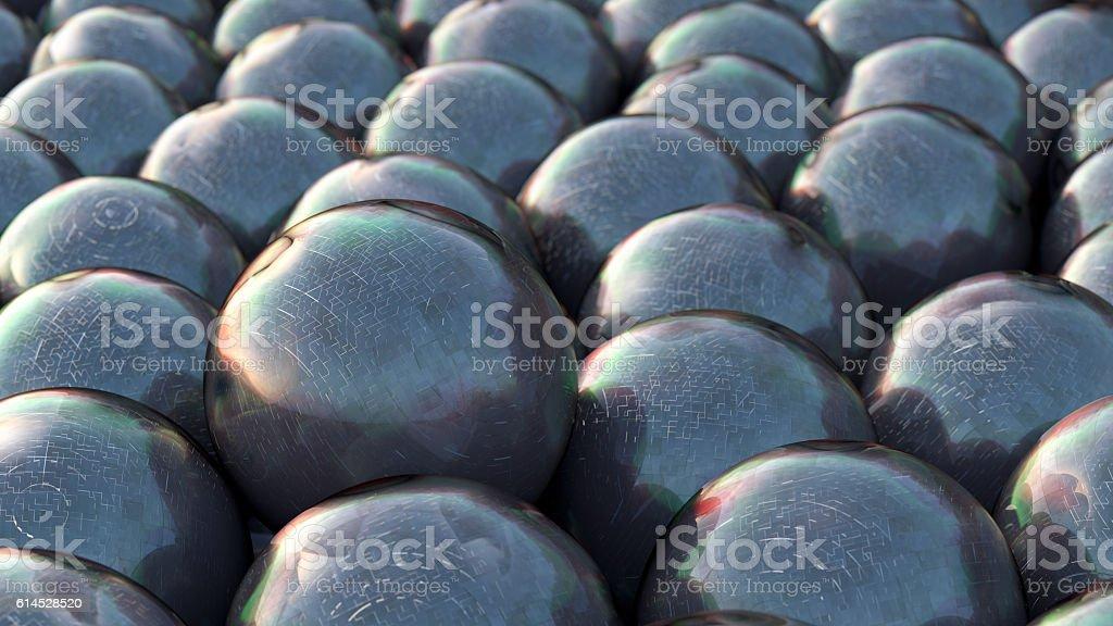 3D rendering black spheres stock photo