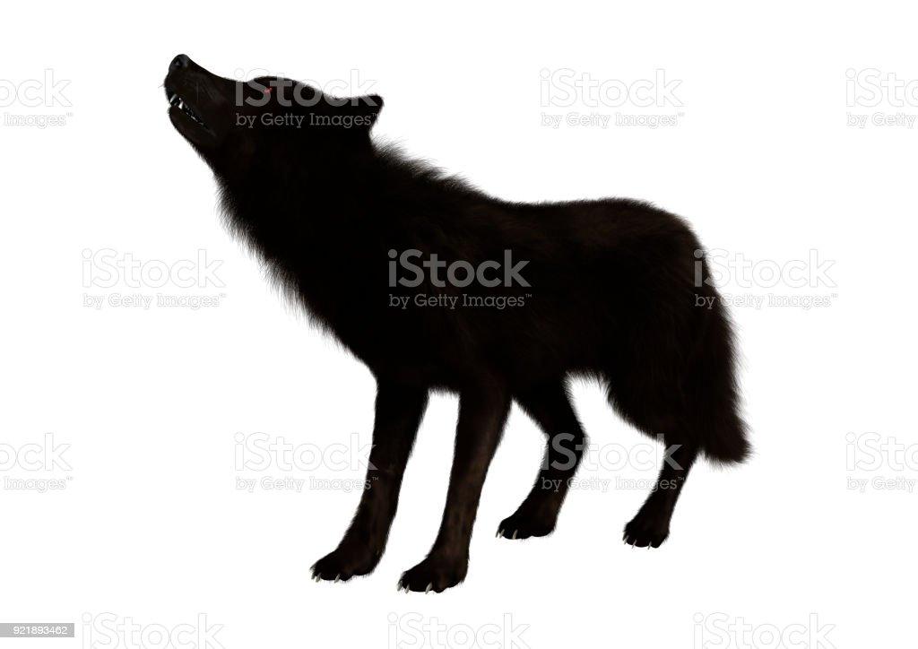 3D, renderização lobo preto no branco - foto de acervo