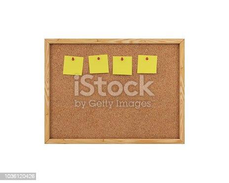 1125351850 istock photo 3D Rendering Blank Cork Board - Cork Background 1036120426