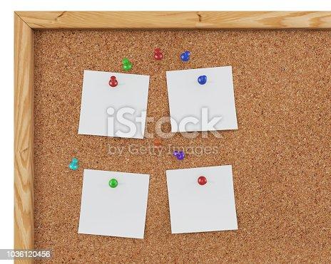 1125351850 istock photo 3D Rendering Blank Cork Board - Cork Background 1036120456