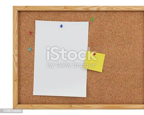 1125351850 istock photo 3D Rendering Blank Cork Board - Cork Background 1036209392