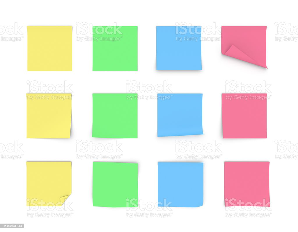 Rendering blank paper stickers of yellow, green, blue and pink stock photo