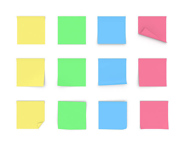 Rendering blank paper stickers of yellow, green, blue and pink - Photo