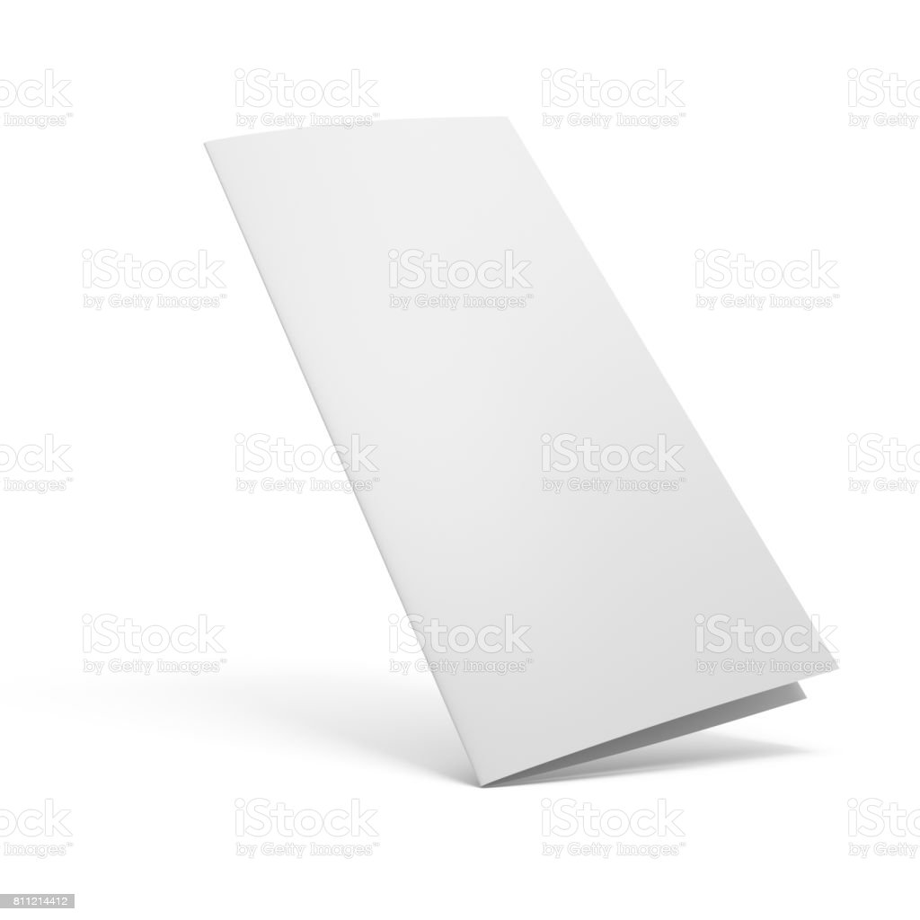 3D rendering blank two fold paper brochure isolated on white background stock photo