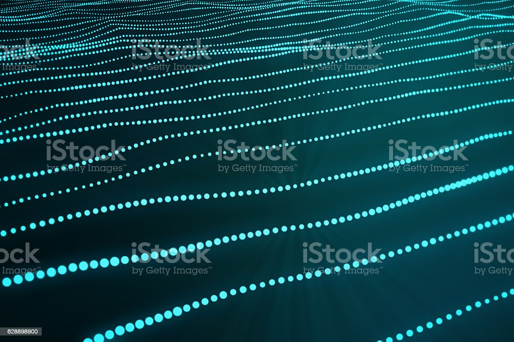 rendering blue abstract space dark background with connecting dots and stock photo