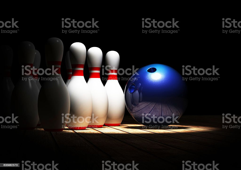 3D Rendering Blue Bowling 3D Illustration stock photo