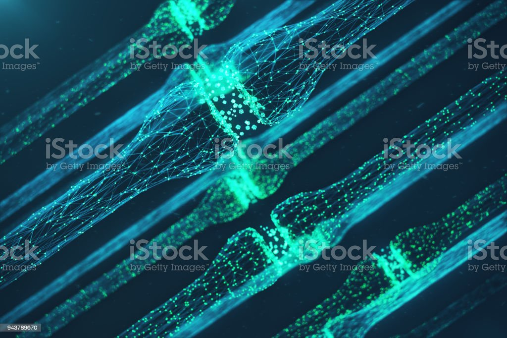 3D rendering blue glowing synapse. Artificial neuron in concept of artificial intelligence. Synaptic transmission lines of pulses. Abstract polygonal space low poly with connecting dots and lines stock photo