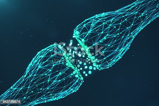 3D rendering blue glowing synapse. Artificial neuron in concept of artificial intelligence. Synaptic transmission lines of pulses.Abstract polygonal space low poly with connecting dots and lines.