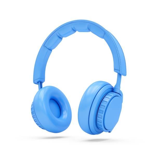 3D Rendering Blue Kopfhörer isoliert auf weißem Hintergrund – Foto