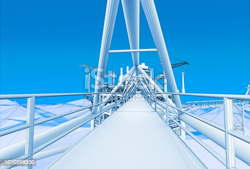 istock 3D rendering ,Blue screen futuristic wireframe oil rig constructtion plant perspective on the sea. 1010598330