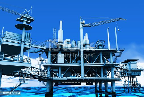 istock 3D rendering ,Blue screen futuristic wireframe oil rig constructtion plant perspective on the sea. 1025477824