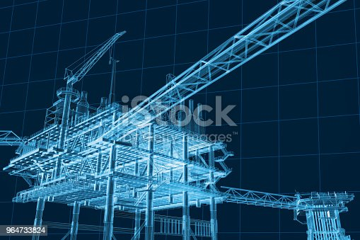 istock 3D rendering , Blue screen Oil rig constructtion plant. 964733824