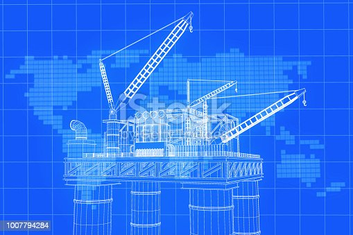 istock 3D rendering , Blue screen Oil rig constructtion plant with background world map on grid line. 1007794284