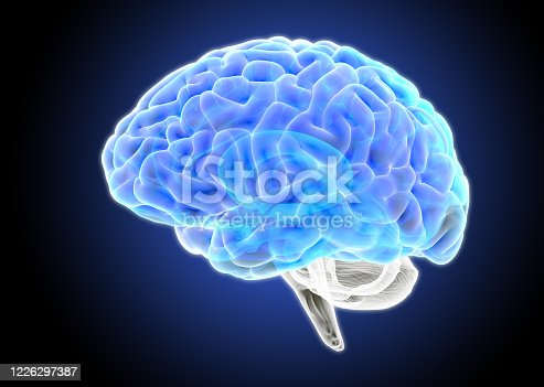 3D rendering illustration blue color tone human brain x-ray side view isolated and glowing on dark blue background included with object clipping path