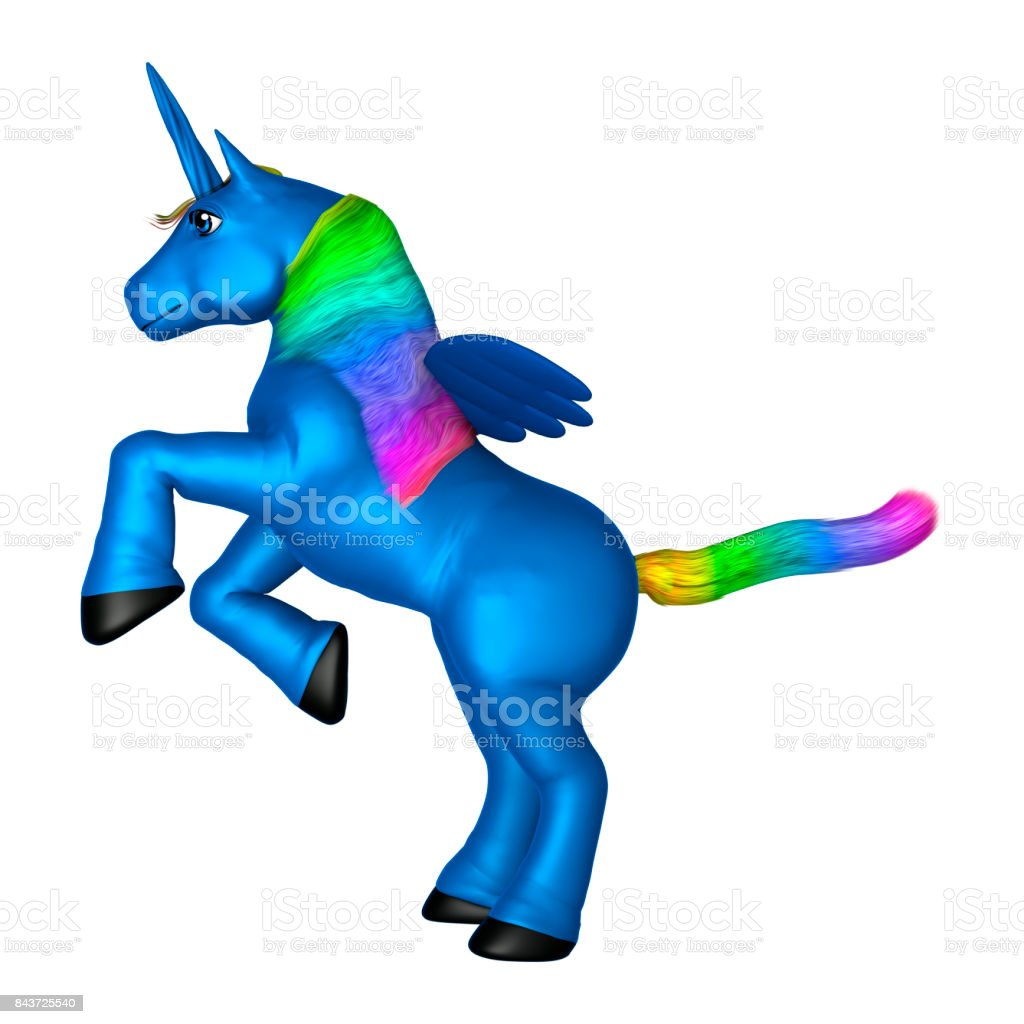 3D Rendering Blue Unicorn on White stock photo